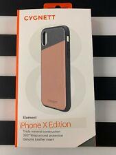 CYGNETT ELEMENT iPHONE X Case - Genuine Pink Sand Leather & Aluminum  *N*E*W*