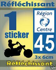 1 Sticker REFLECHISSANT département 45 rétro-réfléchissant immatriculation MOTO