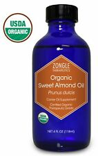 Zongle Usda Certified Organic Sweet Almond Oil, Safe To Ingest, 4 oz