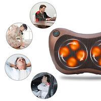 Electric Massager Lumbar Pillow Neck Back Massage Heat Kneading Cushion Home Car