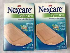 NIB 2 Boxes Nexcare Soft N Flex Natural Feel Bandages Knee & Elbow 8 each Box