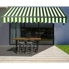 ALEKO Motorized Retractable Home Patio Canopy Awning 12'x10' Green/White