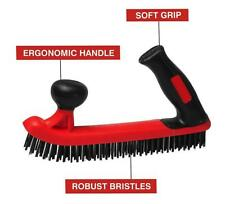 Soft Grip Black/Red Two Handle Brass Coated Carbon Steel Wire Brush
