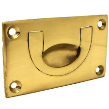 SOLID BRASS FLUSH DROP HANDLE 70mm Furniture Cupboard Door/Draw Recessed Pull