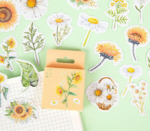 Scrapbooking Planner Diary Stickers Sunflowers Daisy Nature Gift Bag Seal 45pcs