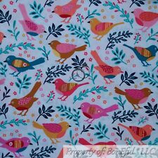 BonEful FABRIC FQ Cotton Quilt White Pink Aqua Blue Gold Bird Tree Branch Flower