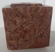 Vintage Marble Stone India Pen Holder Incense Burner Candle Red Brown