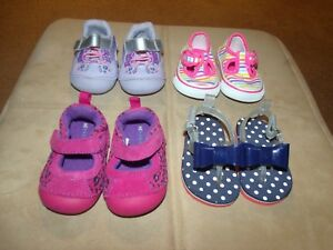 4 PAIR BABY GIRL'S SHOES SIZE 2 EUC