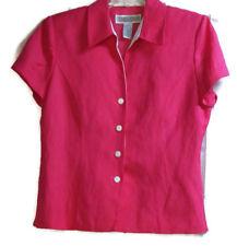 Jessica Howard Pink Button Down Top Size 12 Linen Blend Lined Shoulder Pads