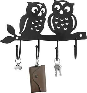 Decorative Black Metal 4 Key Hook Rack, Wall Mounted Hanging Storage Organizer