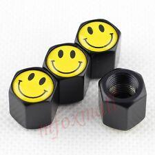 4X Auto Wheel Tyre Tire Caps Screw Dust Cover Trim Smile Face Logo Parts Black