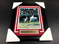 Pete Rose Autographed 8x10 Photo Hit King 4,256 Custom Framed PSA COA AUTHENITC