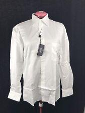 TYNER-SHORTEN Men's Cotton Dress Shirt Solid White, Size 16 L NWT