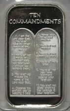 Ten Commandments .999 Silver Art Medal 1 oz ingot Bar - Religious Christianity