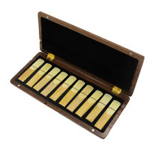 Hand Made Wooden walnut Clarinet Saxophone Reed Box Case Hold 10 Reeds soft velv