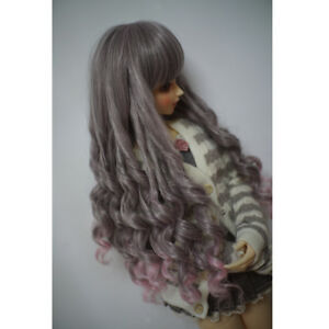 1/3 BJD Doll Wig Synthetic Long Curly Hair Wig For Dollfie Pink Gray Blend