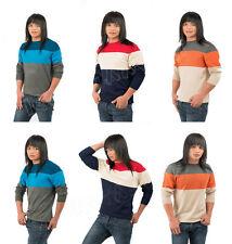 Man Mens Thin Knit Jumper Striped Pattern Crew Neck Pullover Sweater