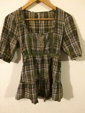 Denim Co Blouse Top Checked Green/fawn/black With Lace Trim Size 10 <R4920