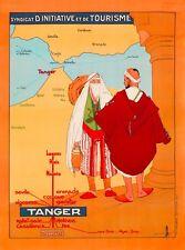 Tanger Tangier Morocco Africa Map Vintage Travel Advertisement Art Poster Print