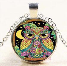 Colorful OWL Cabochon Silver/Bronze/Black/Gold Glass Chain Pendant Necklace#7707