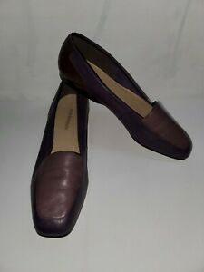 Enzo Angiolini Purple Colorblock Leather Loafers Flats Shoes 10 Slip Ons