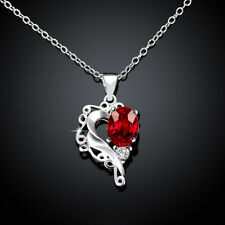 925 Sterling Sliver Filled Ruby CZ With Pave Crystal Love Heart Wedding Necklace