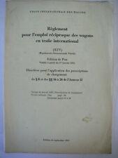 1961 manuel règlement directives chargements UNION INTERNATIONALE DES WAGONS