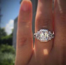 2.50ct White Emerald Cut Diamond Solitaire Engagement Ring 10K White Gold Finish