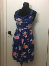 Hollister Tropical Jersey Blue Floral Lolita Cute Dress XS 6