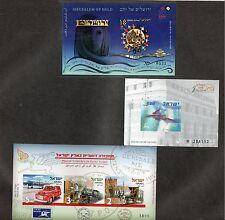 Israel Post, Jerusalem of Gold and Postal Vehicles Imperf Sheetlets MNH