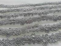 2 METER GPO Spitze 2,3cm Grau breit Elegante Nichtelastisch