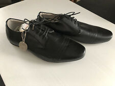 BNWT Mens Teenage Boys Size 8 Rivers Black Lace up Leather Lined Dress Shoes