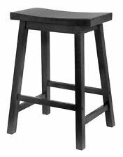 """Winsome Wood Counter Stool Saddle Bar Seat Contoured Top Square Legs Home 24"""""""