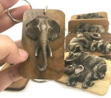 12x Key Chain Thai Handmade Elephant Teak Wood Resin Gift Souvenir Collectible