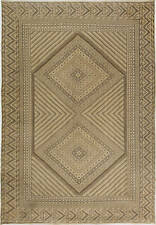 Midcentury Moroccan Sand and Sepia Hand Knotted Wool Kilim Rug BB6257