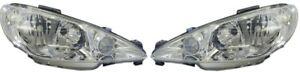 *NEW* HEADLIGHT LAMP PAIR  (CRYSTAL) for PEUGEOT 206 XR 6/2003 -11/2007 LH + RH