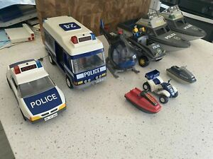 Playmobil Police Lot - As Is - w/ Instruction, Police Car Motorcycle Boat Helo