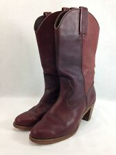 "VTG Dexter Cowgirl Boots Womens 8 M Red Burgundy Leather 3"" Heel Cowboy USA"