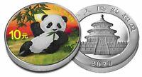 China 10 Yuan 2020 China Panda Silber Münze in Farbe