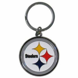 Pittsburgh Steelers NFL Metal Chrome Logo Cut Keychain Car Auto