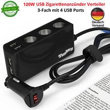 KFZ 3-Fach Zigarettenanzünder Verteiler 12/24V Auto Ladegerät Adapter Mit 4 USB