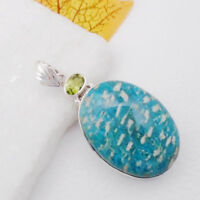 Amazonit Peridot blau grün oval Design Anhänger Amulett 925 Sterling Silber neu