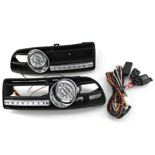 2X GRILLE FOG LIGHT LED LAMP Fit FOR VW JETTA BORA 99-04 + DRL Aniversario ABS