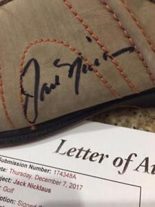 JACK NICKLAUS SIGNED GOLF SHOE CLEAT ALLEN EDMUNDS SUEDE JSA LETTER LOA PGA COA