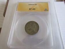 1943-P , Jefferson Nickel , EF 45 , Anacs
