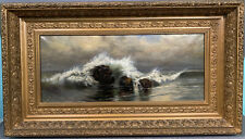 Antique EDWARDIAN Era SEASCAPE Old ROCKY COAST Rocks OCEAN Shore PAINTING Frame