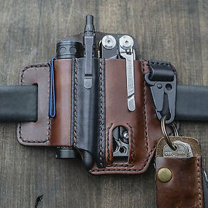 Moerae EDC Genuine Leather Multitool Flashlight Belt Sheath With Keychain Organi