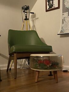 Vintage MCM Inflatable Terrarium Flowers Foot Stool Ottoman Red  Roses