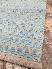 ❤️Zig Zag Rug Turquoise Rags & Natural Cotton 120cm x 180cm Herringbone Chevron