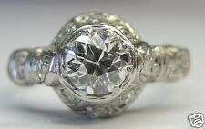 Antique Vintage Deco European Diamond Engagement Platinum Ring Size 6 EGL USA